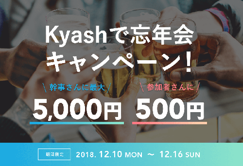 Kyashで忘年会キャンペーン!Kyashでまとめて支払うとポイントがもらえます!